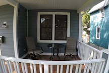 Cozy porch, great for morning coffee or reading.