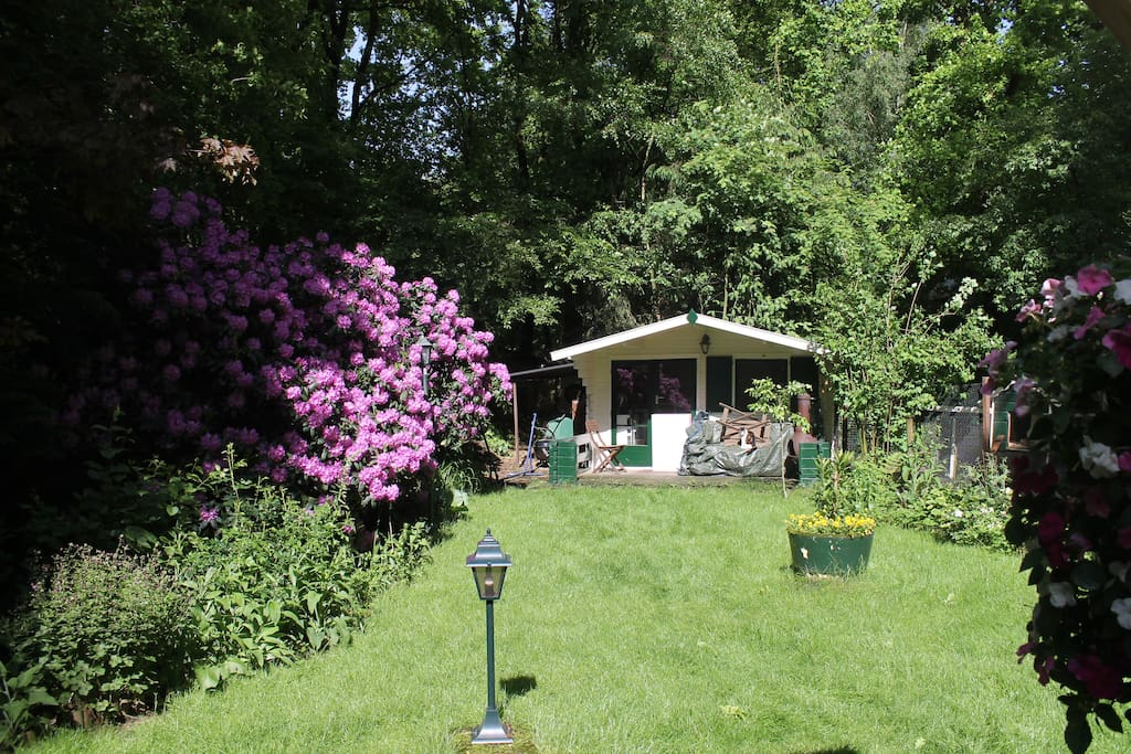 Lovely garden, lots of privacy! At the back of the garden a gardenhouse with extra bed