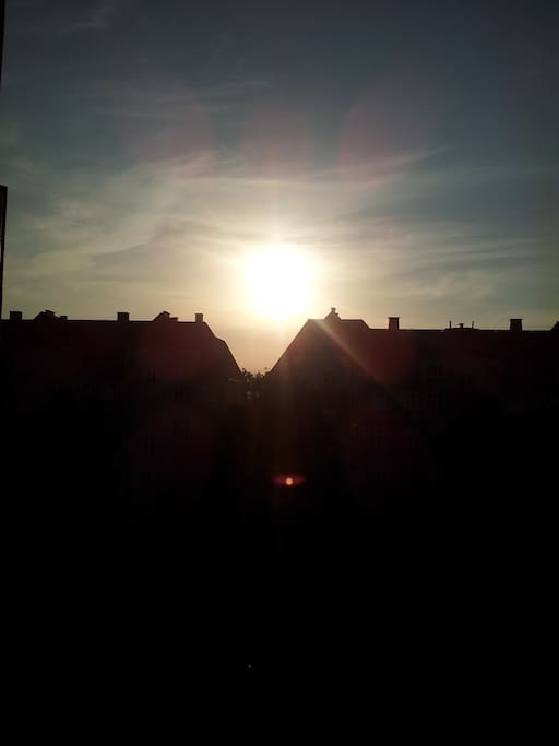 sun setting, seen from bedroom.