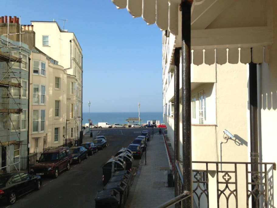 The balcony from the main bedroom is wide enough for 2 to sit & enjoy the sea view