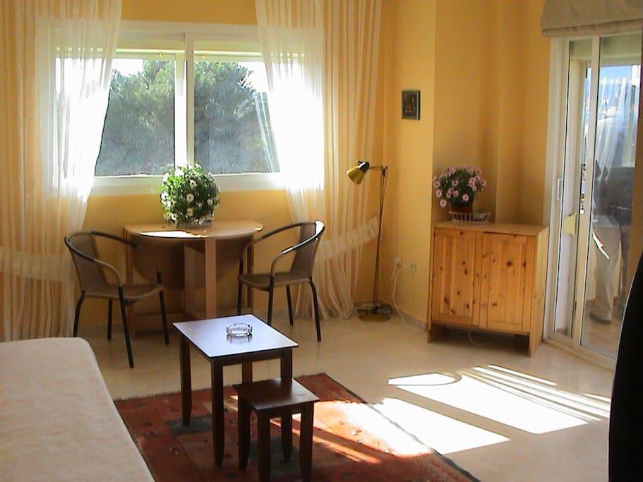 Wohnzimmer mit Schlafcouch / Salon with Bedsofa