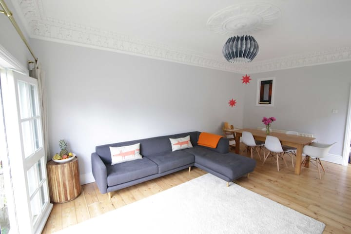Large sofa and dining table