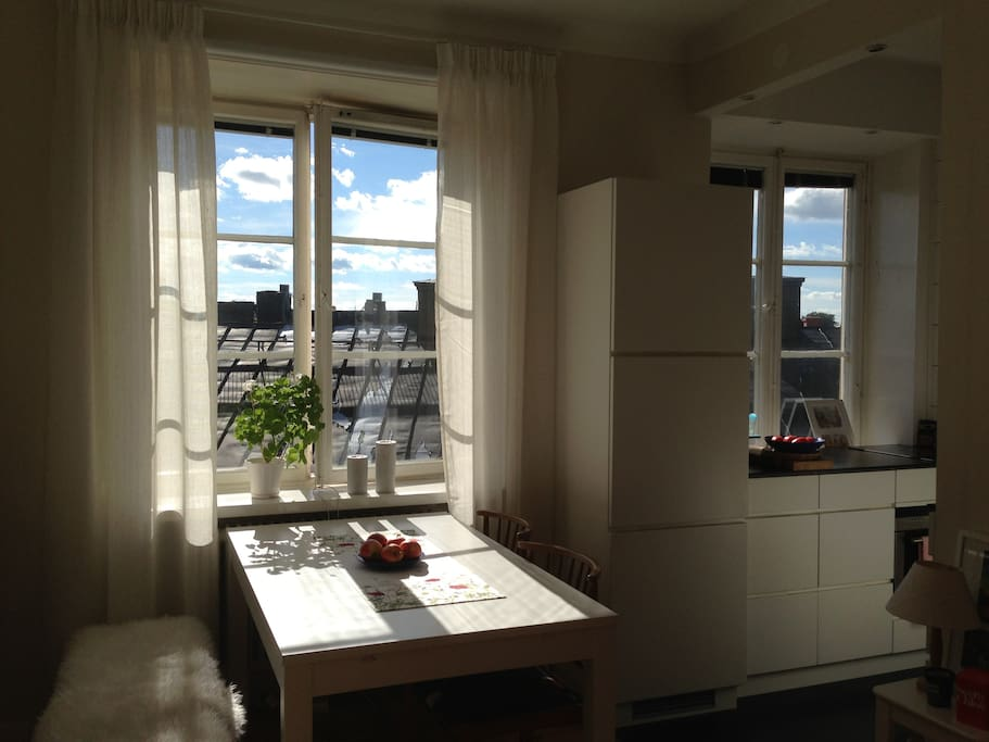 Two beautiful large windows facing the roof tops of Östermalm. No insight at all!