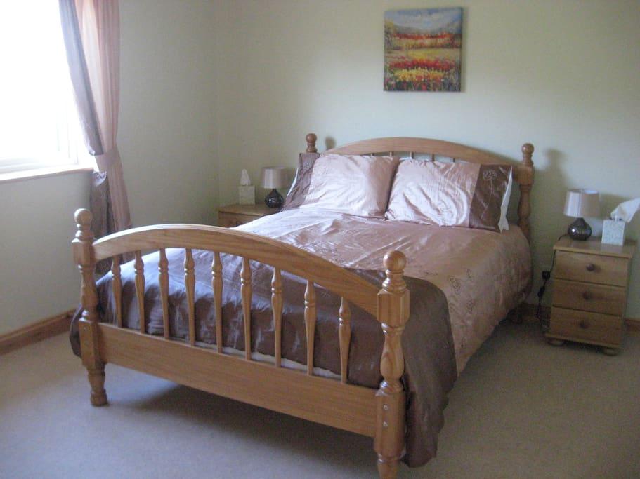 Calming gold room with  en-suite