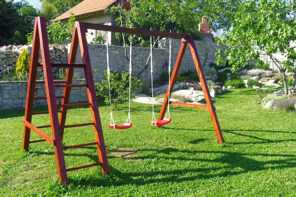 Swings in the backyard