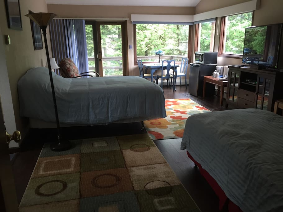 600 sq ft Master Suite showing the two beds (queen size & extra long twin), Cable TV, Netflix, kitchenette, large easy chair, private balcony, and the large windows overlooking the channel, city, and mountains. The room has a ensuite bathroom with a large wall-in closet.