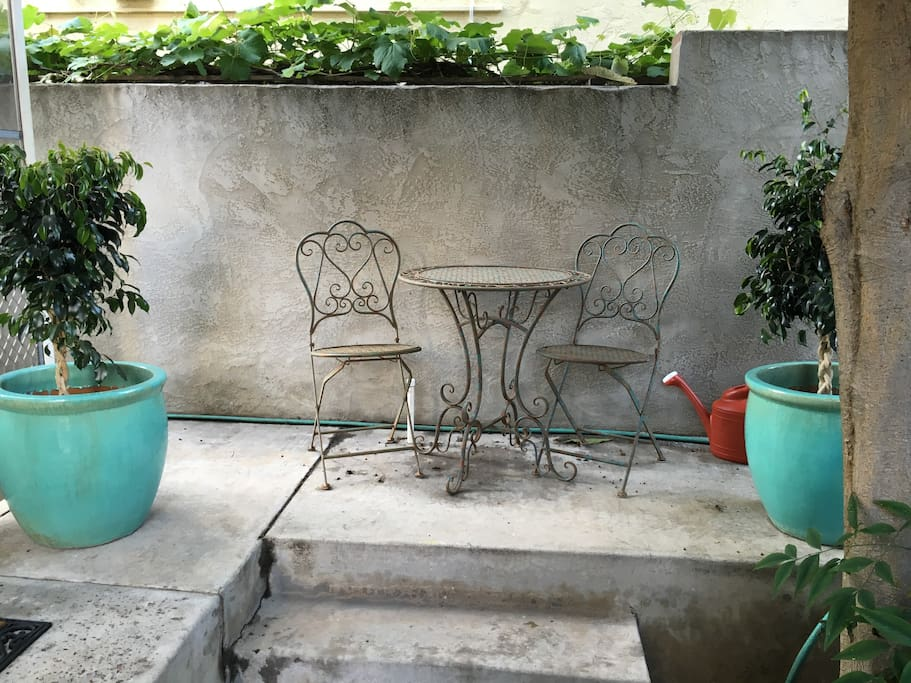 Cute sitting area right outside your door