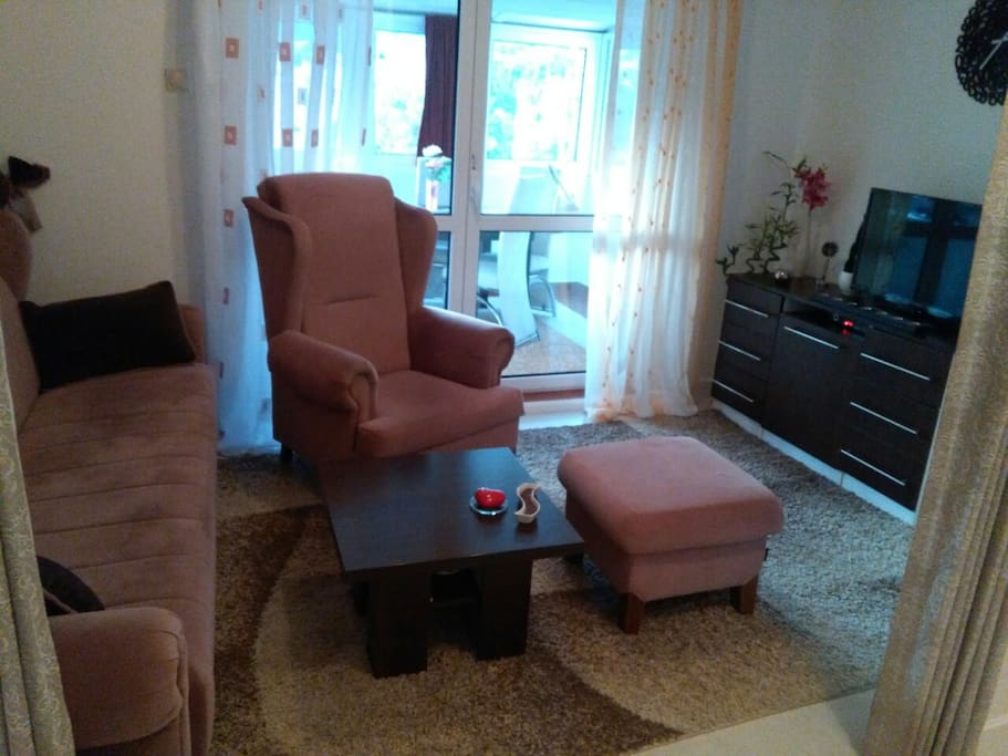 Livingroom with cofa bed and flat TV and comfortable armchair with legrest