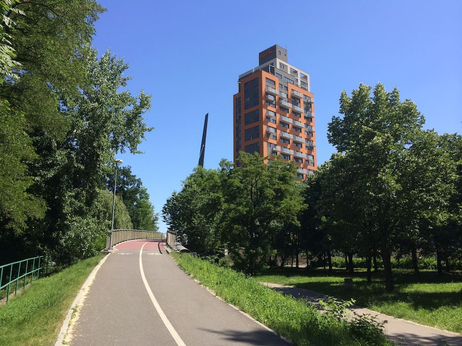 Bicycle path - just next to the residence and crossing all Prague - nature and urban