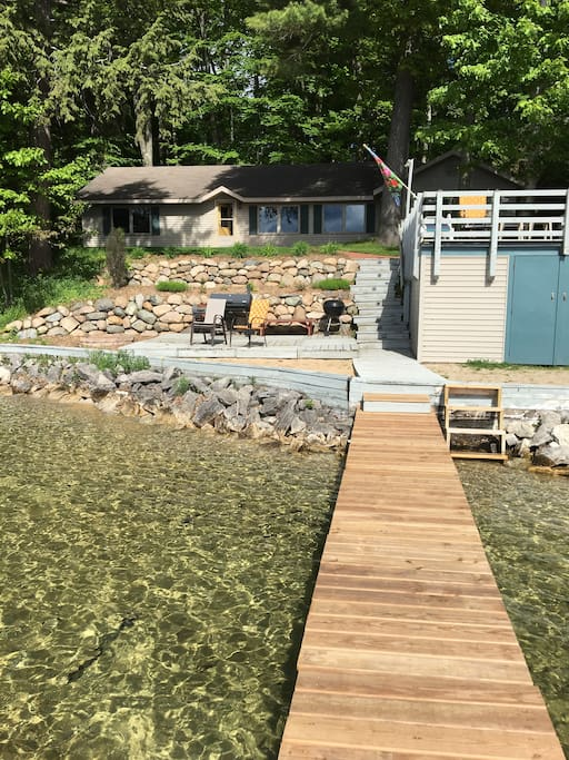 Boat house deck, fire pit deck and beach areas