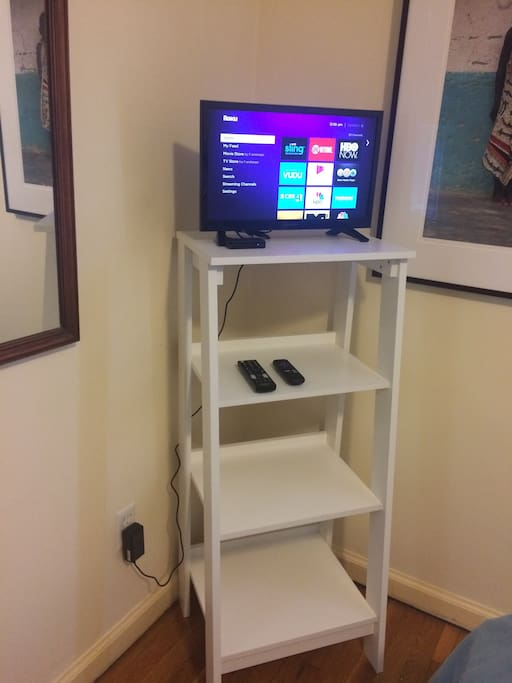 TV with Roku player (Netflix provided by host) in guest bedroom