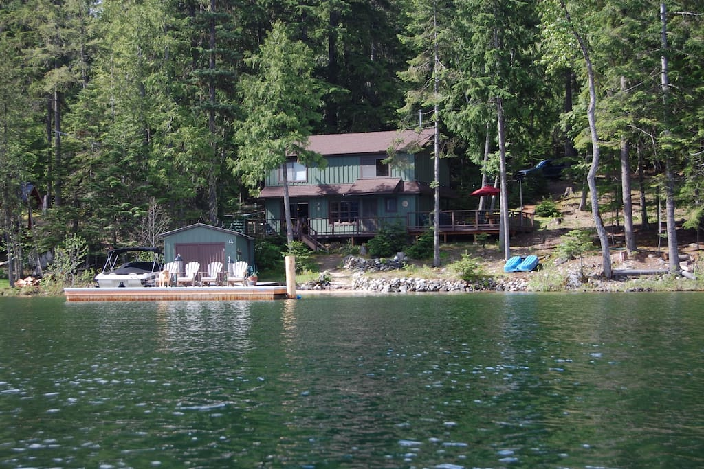 View of the cabin and dock from the lake
