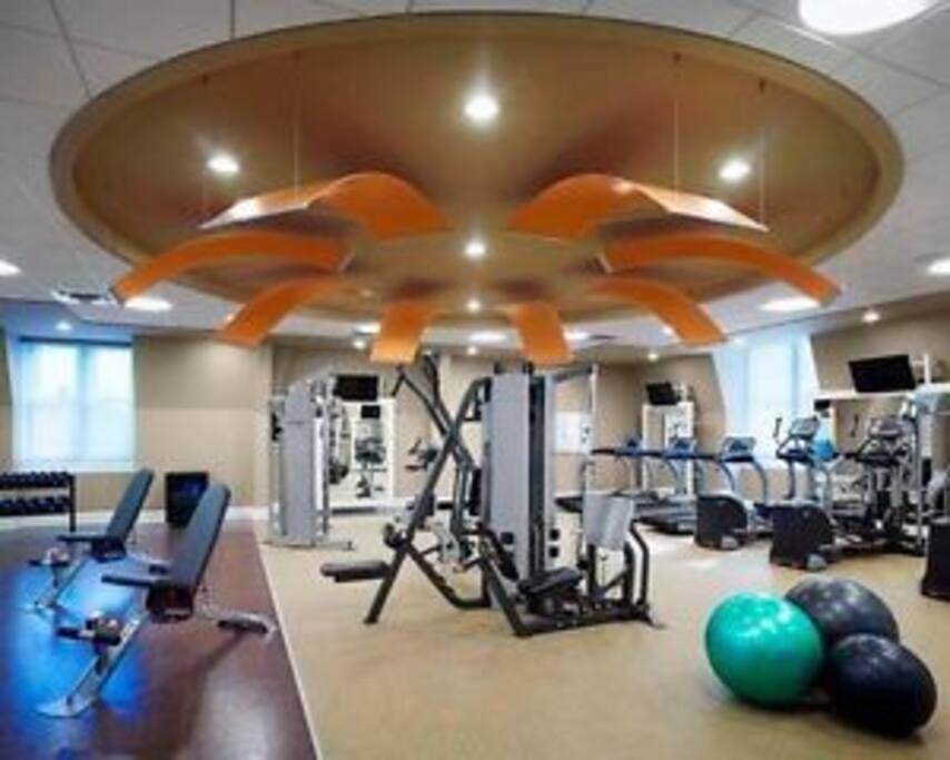 Modern gym with weight machines, free weights & TV