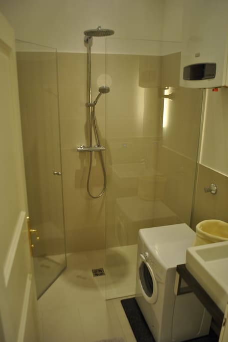 Bathroom with Rainfall Shower and Washing Machine