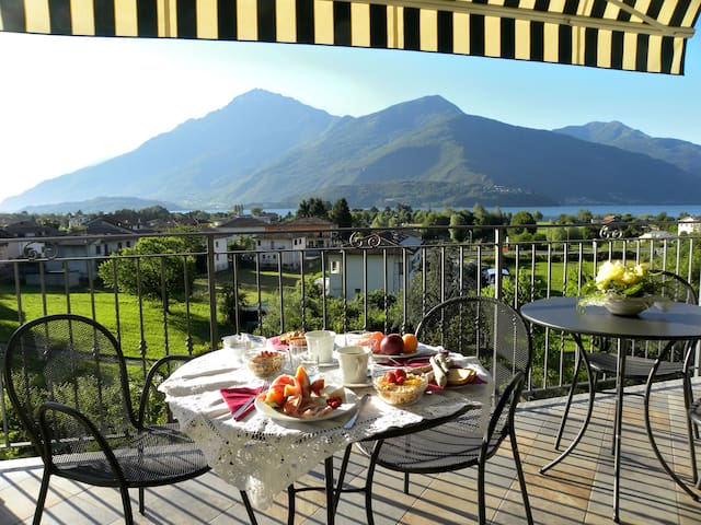 breakfast time on our covered terrace lake view