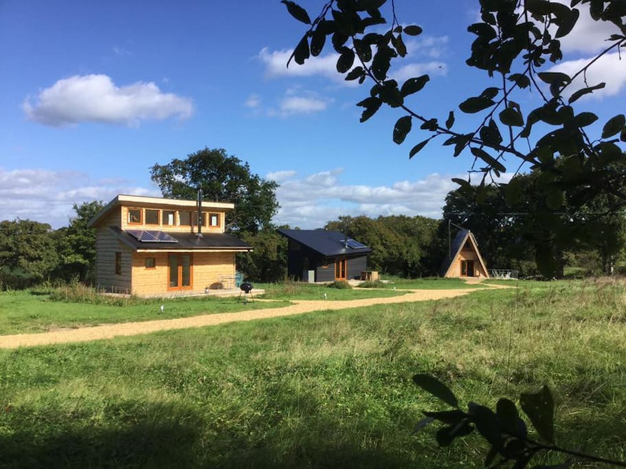 The setting - we have three Tiny Home cabins in our own smallholding setting.