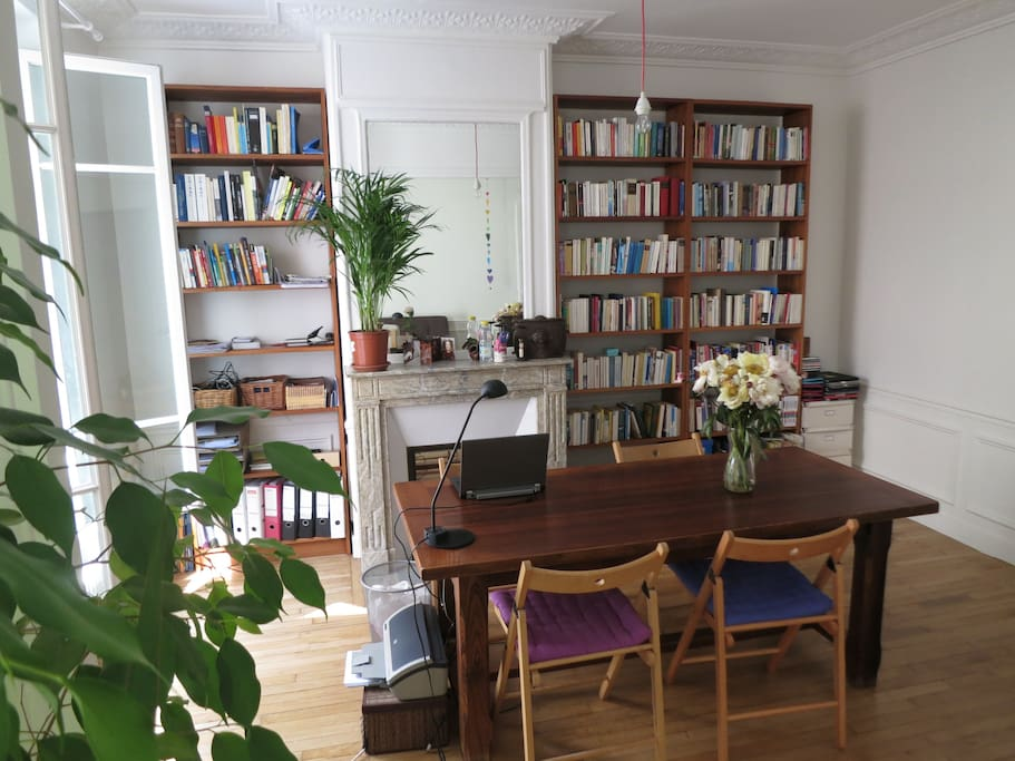 dining table and library
