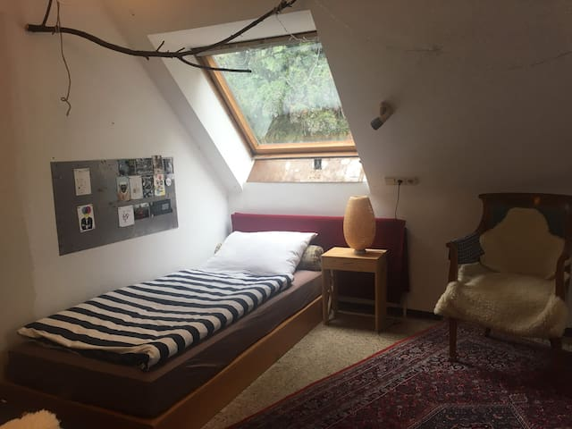 Room 3: Two people can share this room which is located on the first floor and has two single beds.