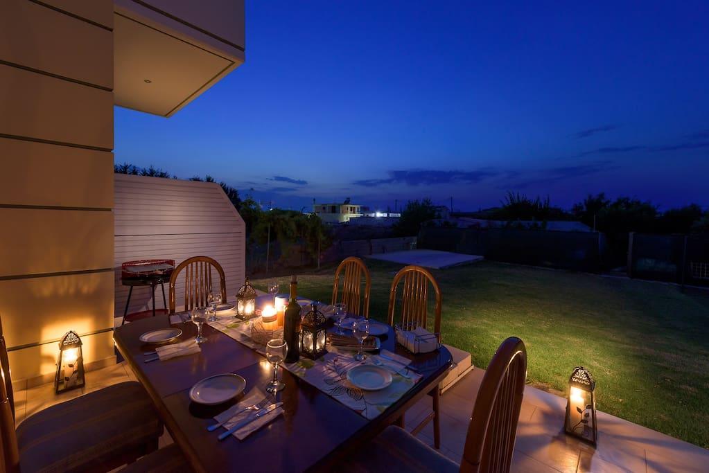 Backyard dining area