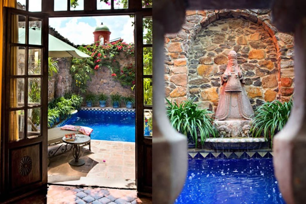 @CasaSchuck .. La Rosa Room .. Full bath, Private Terrace, Cantera Fireplace, Amazing views and gardens all around you!