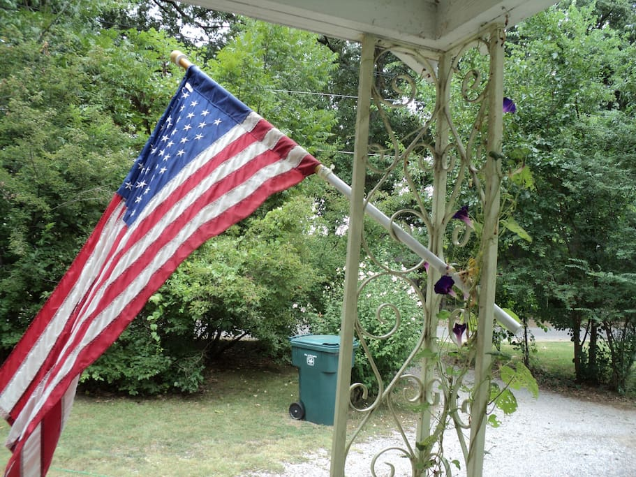 The view out the front door.  We are patriotic nature-lovers! (And we have a garbage can!)