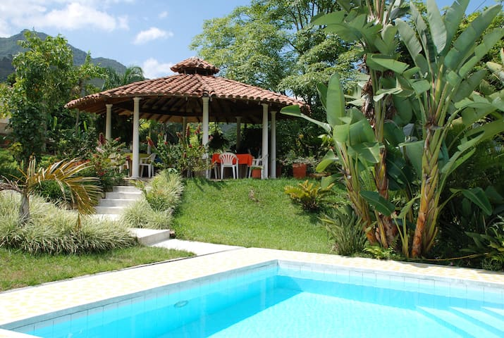 Pool with Barbecue gazebo perfect for enjoying with family and friends in tropical garden