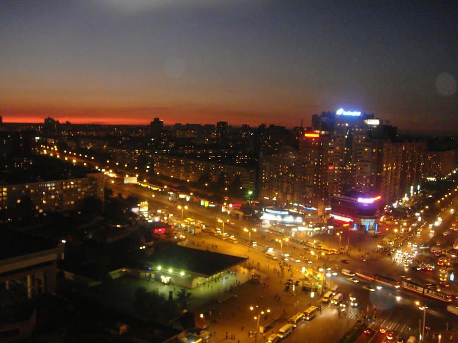Window view to subway station and area around subway Pionerskaya