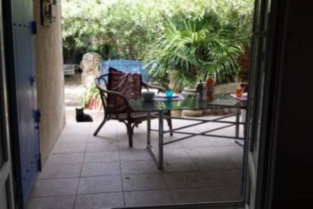 une terrasse dans la nature provençale