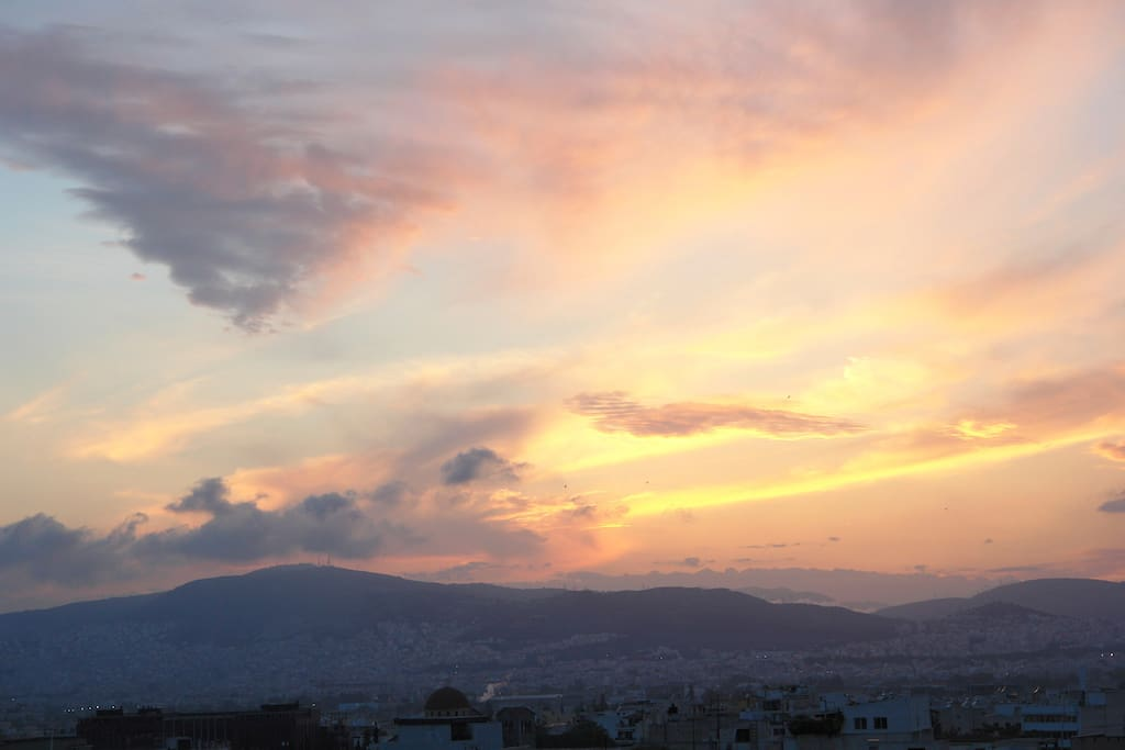 A typical sunset in Athens towards Piraeus....