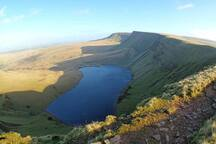 The Brecon Beacons are just 30 minutes away.  We manage this walk at Llyn y Fan Fach every once in a while and it is worth every step.