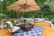 Lovely backyard patio area for reading or wine by the fire