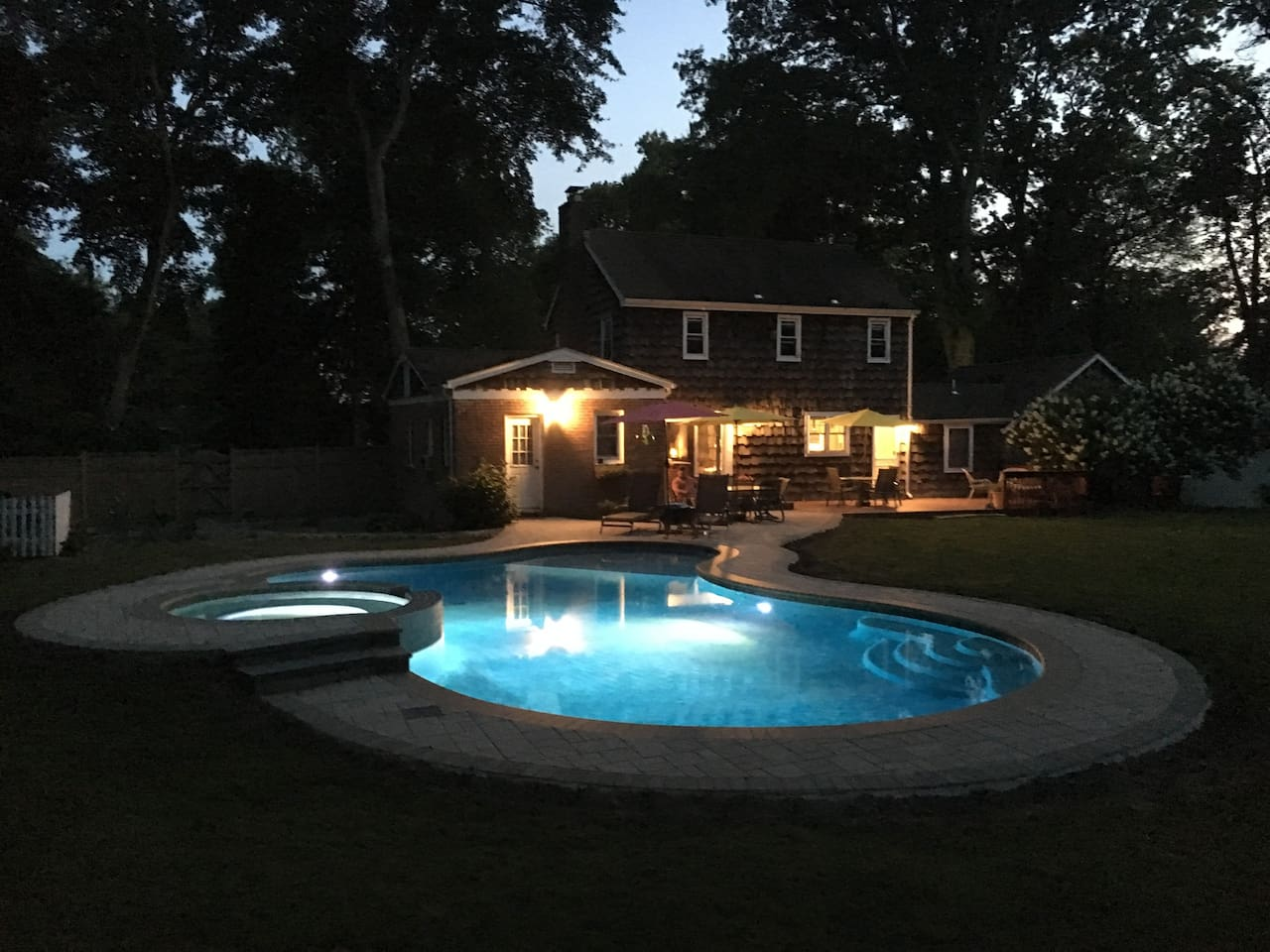 Pool and spa in the evening
