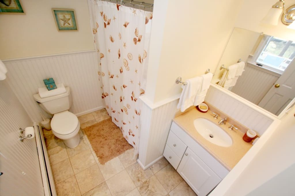 First floor master bath with large, step-in shower.