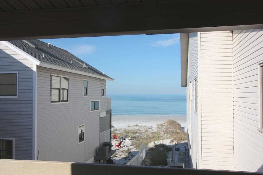 View of the beach from the private balcony.