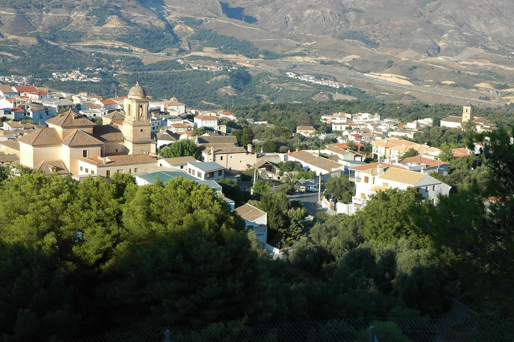 Village of Pinos del Valle with Sierra Nevada behind