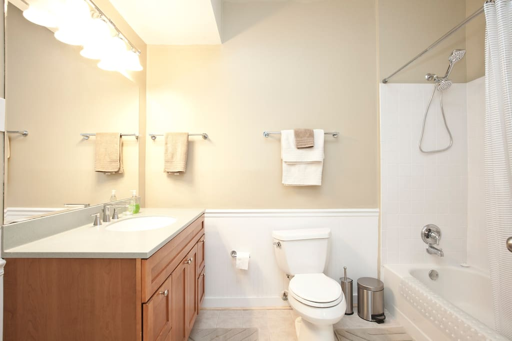The bathroom is quite large, and we provide towels and a hair dryer.