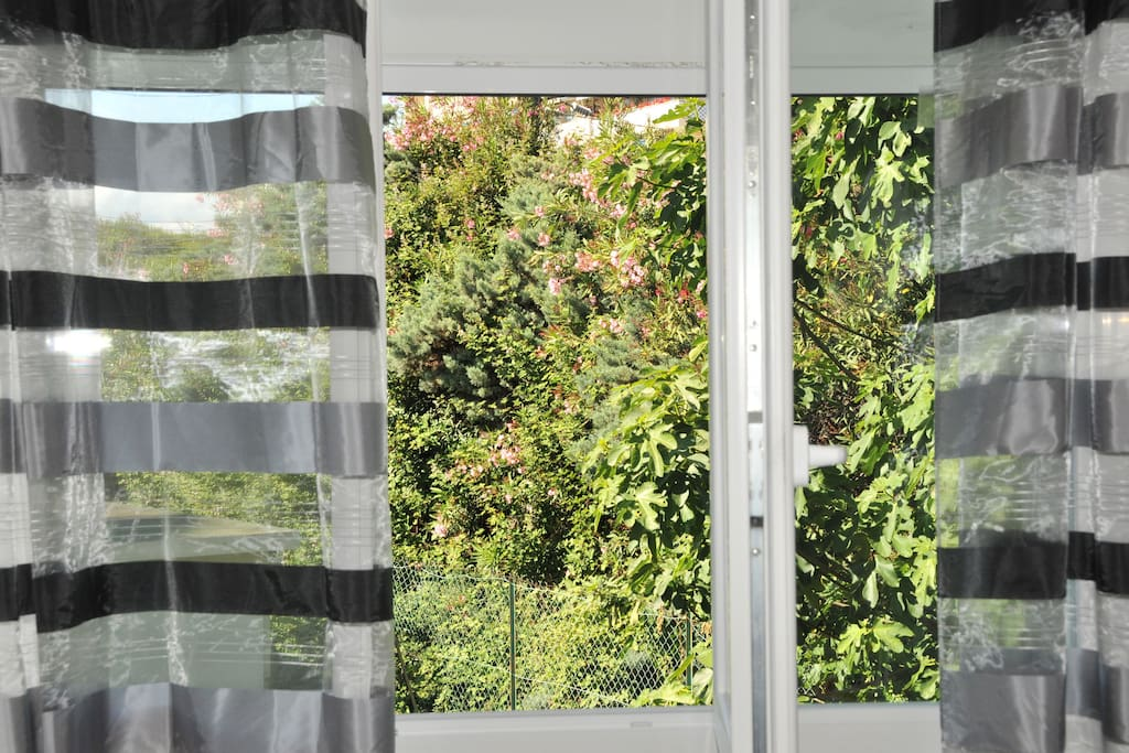 Vous avez une vue verdoyante sans vis-à-vis. Le studio est au calme, il donne sur la cour intérieure de la résidence.