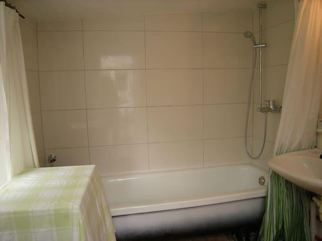 Badezimmer mit Wanne, Tür von der Terrasse aus. 2014 z. T. renoviert.
