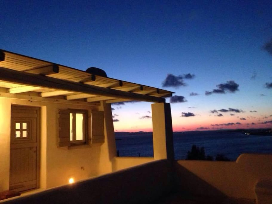 Terrace/veranda sunset sea view