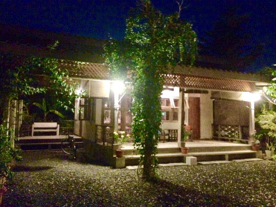 Night view of Charming Bungalow.