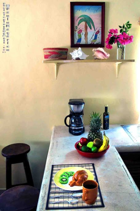 Kitchen counter bar seating.