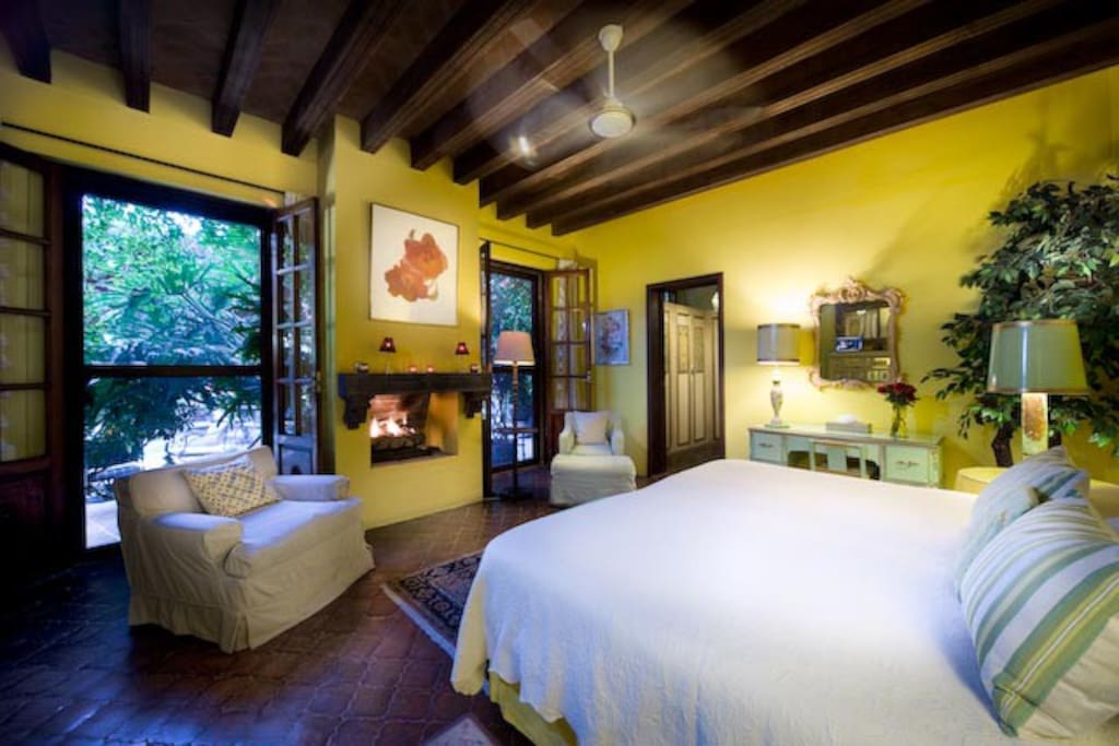 @CasaSchuck .. El Amarillo Room .. Full bath, Cantera Fireplace, Amazing views and gardens all around you!