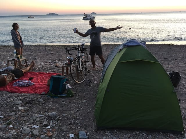 Camping and hiking in nature