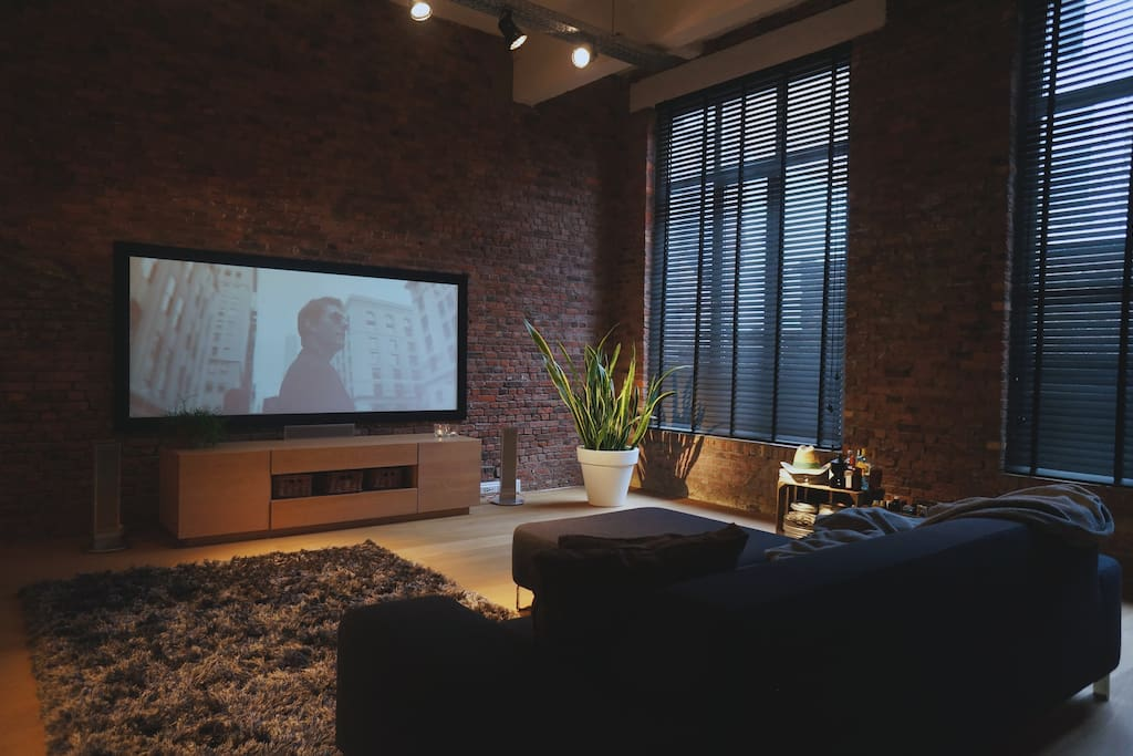 Living room with 4K projector.