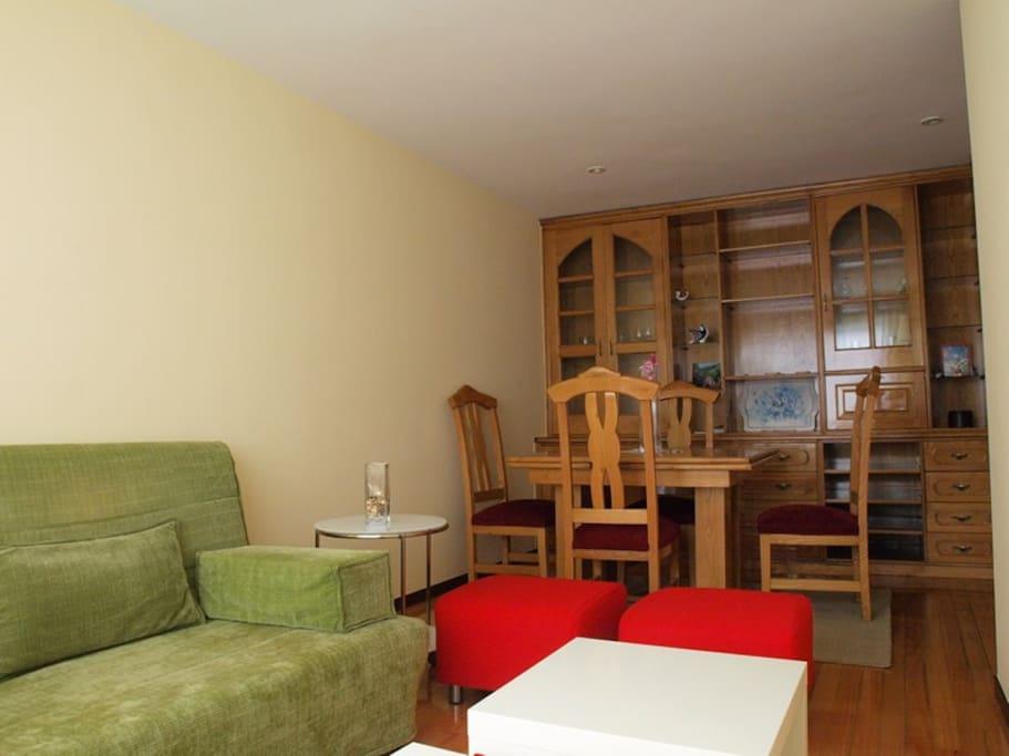 Salón con un amplio sofa cama de 150cm