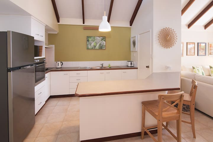 A fully equipped kitchen for guests to use.