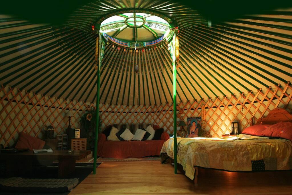 Inside the yurt.