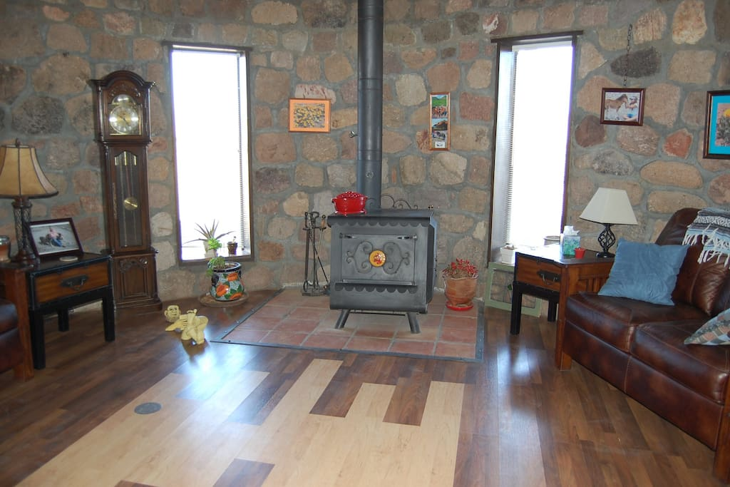 Living area with a view of the Peloncillo Mountains