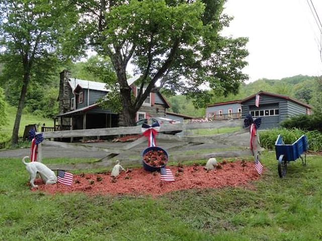 100 + year old log cabin with pond! - Waynesville - Blockhütte