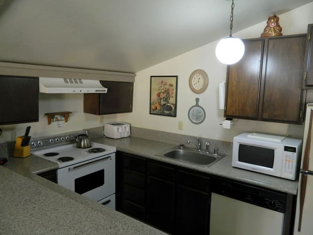 The kitchen is fully equipped and open to the rest of the living area.